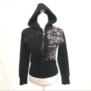 Volcom black zip up hoodie sweater